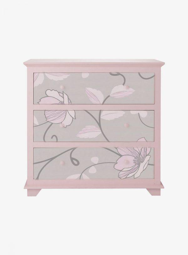 Rózsaszín 3 fiókos komód